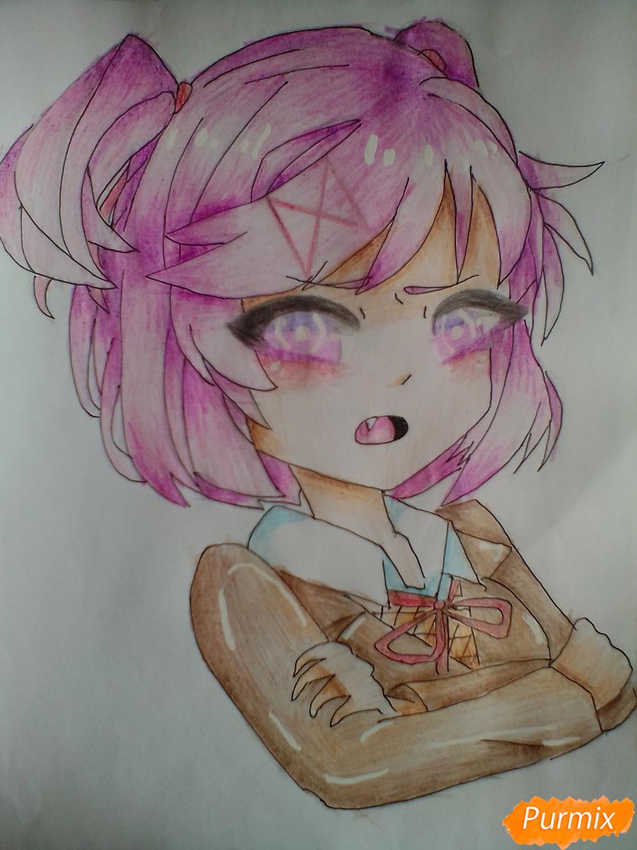 Как нарисовать портрет Нацуки из игры Doki Doki Literature Club