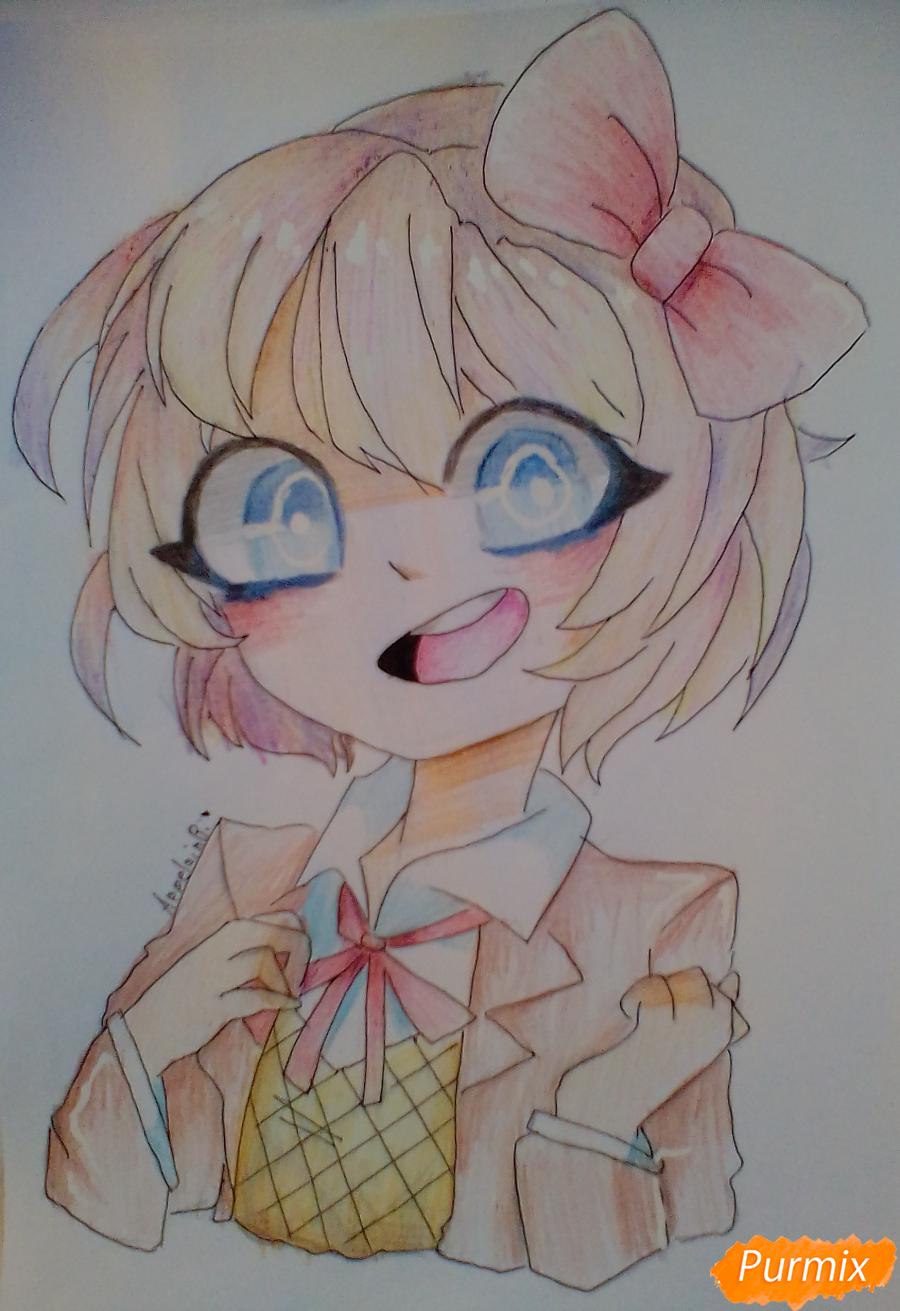 Как нарисовать портрет Саёри из игры Doki Doki Literature Club карандашом поэтапно