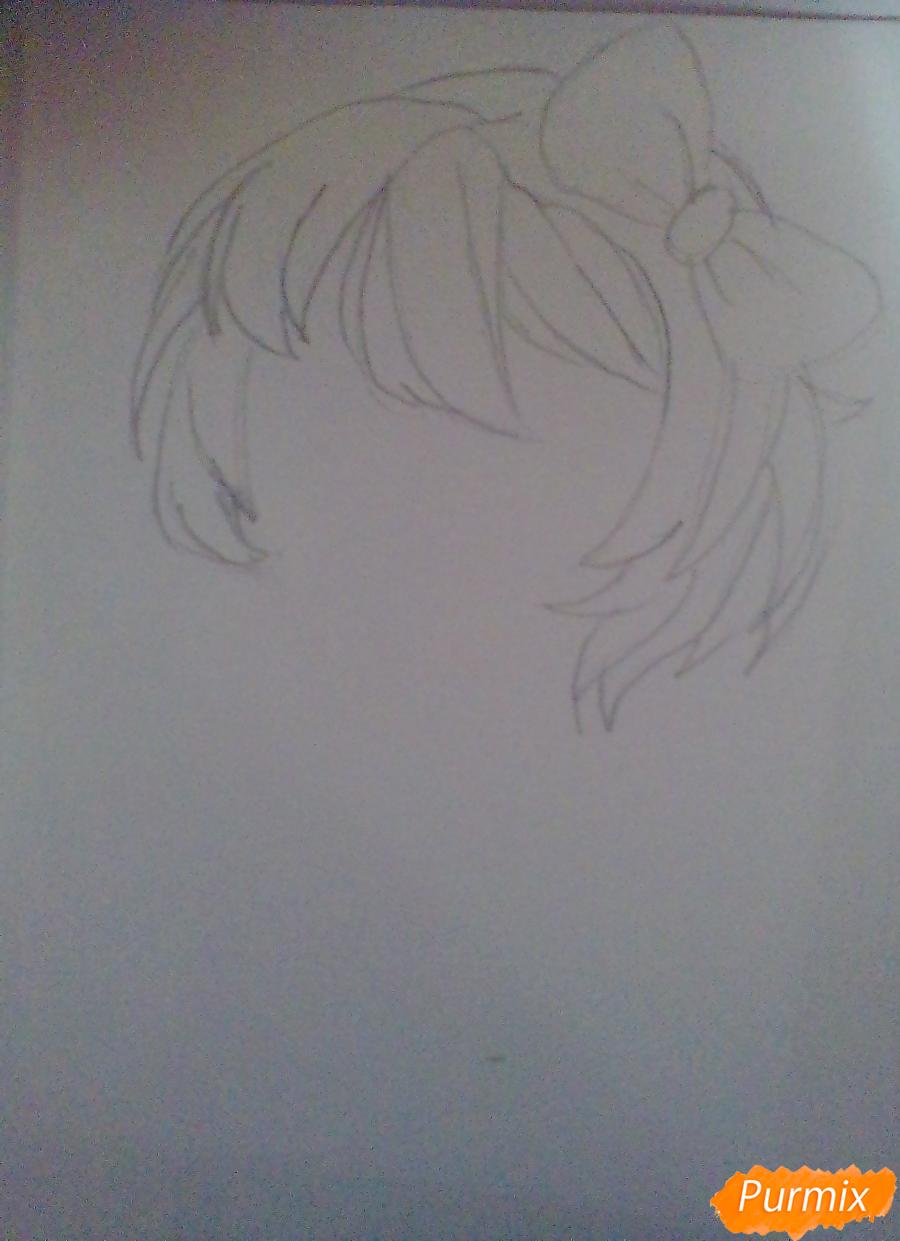 Рисуем портрет Саёри из игры Doki Doki Literature Club - шаг 2