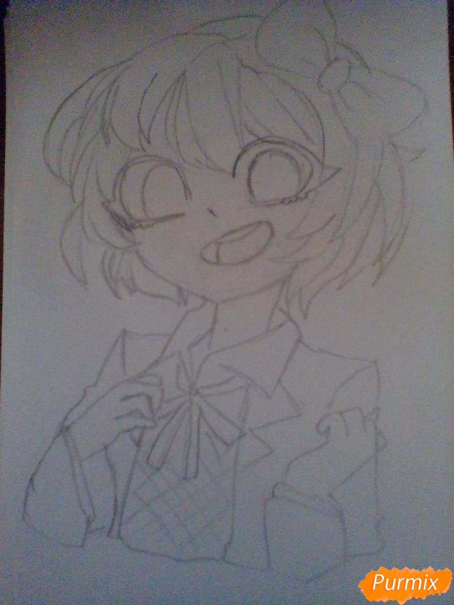 Рисуем портрет Саёри из игры Doki Doki Literature Club - шаг 6