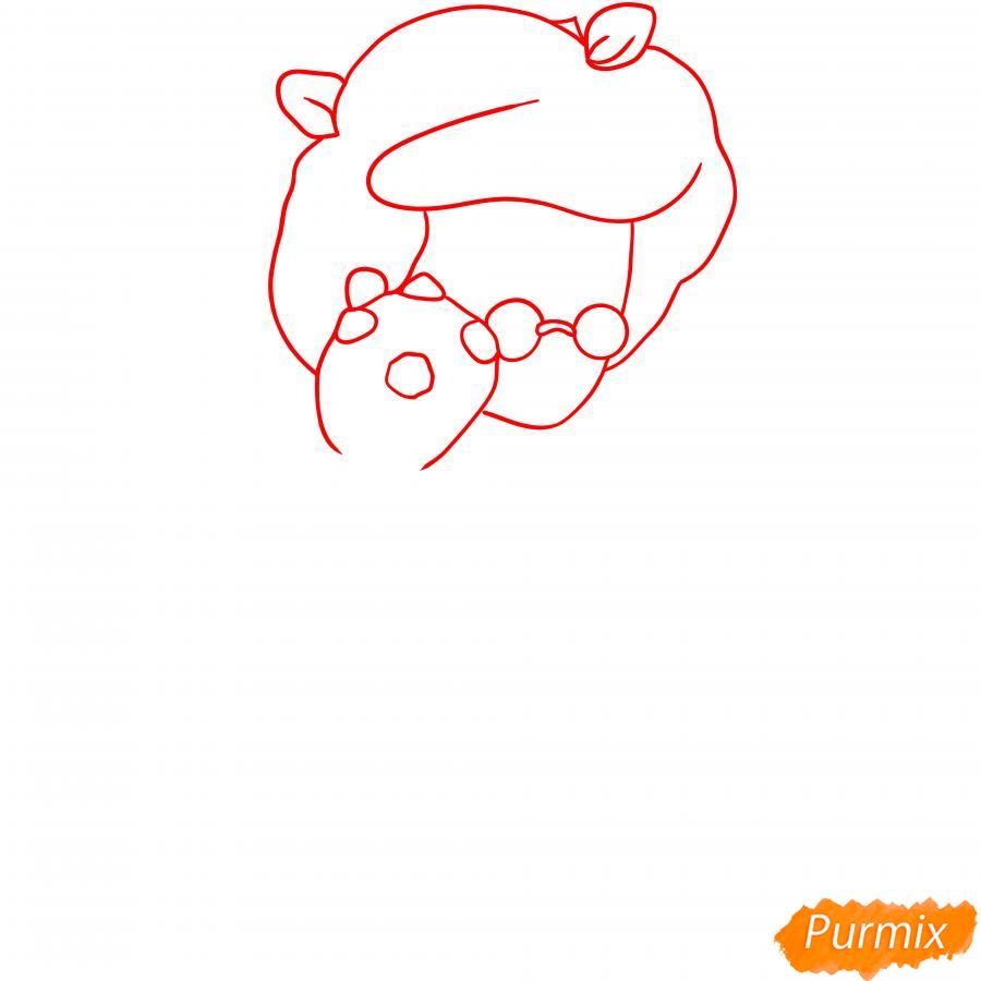 Рисуем Розу из Бравл Старс карандашами - шаг 1