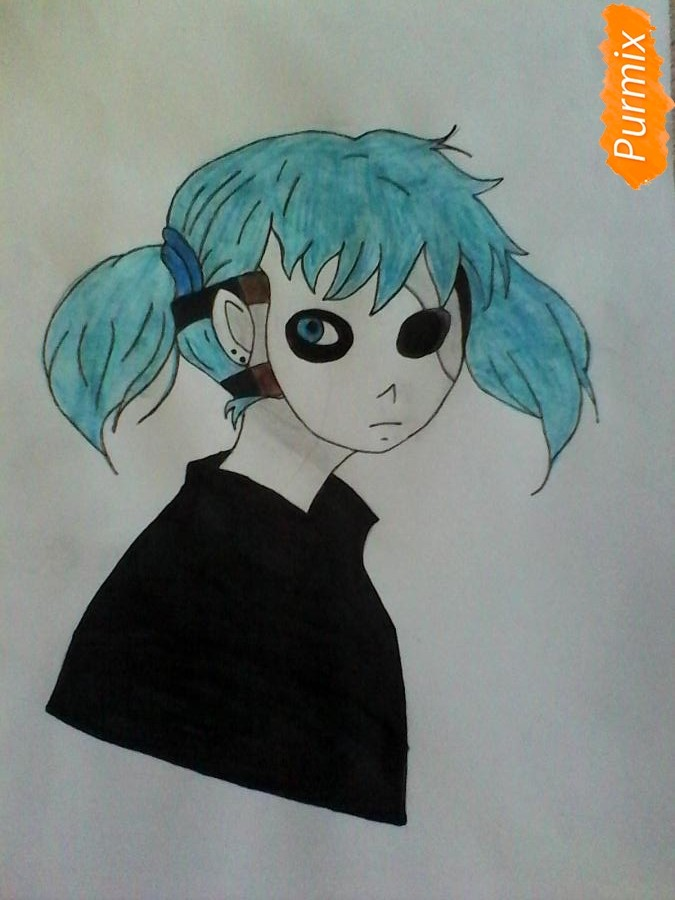 Рисуем Салли из игры Sally Face карандашами - шаг 10