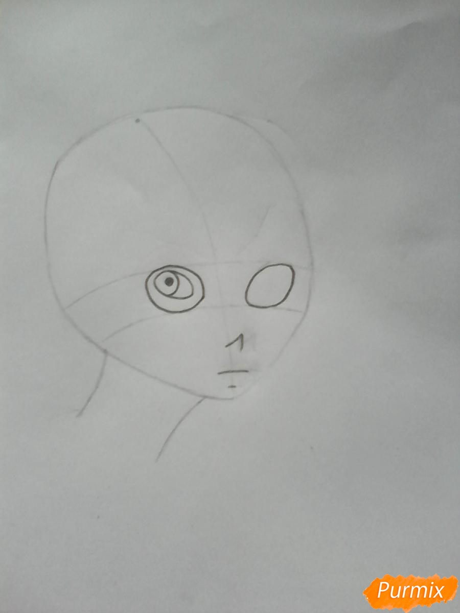 Рисуем Салли из игры Sally Face карандашами - шаг 2