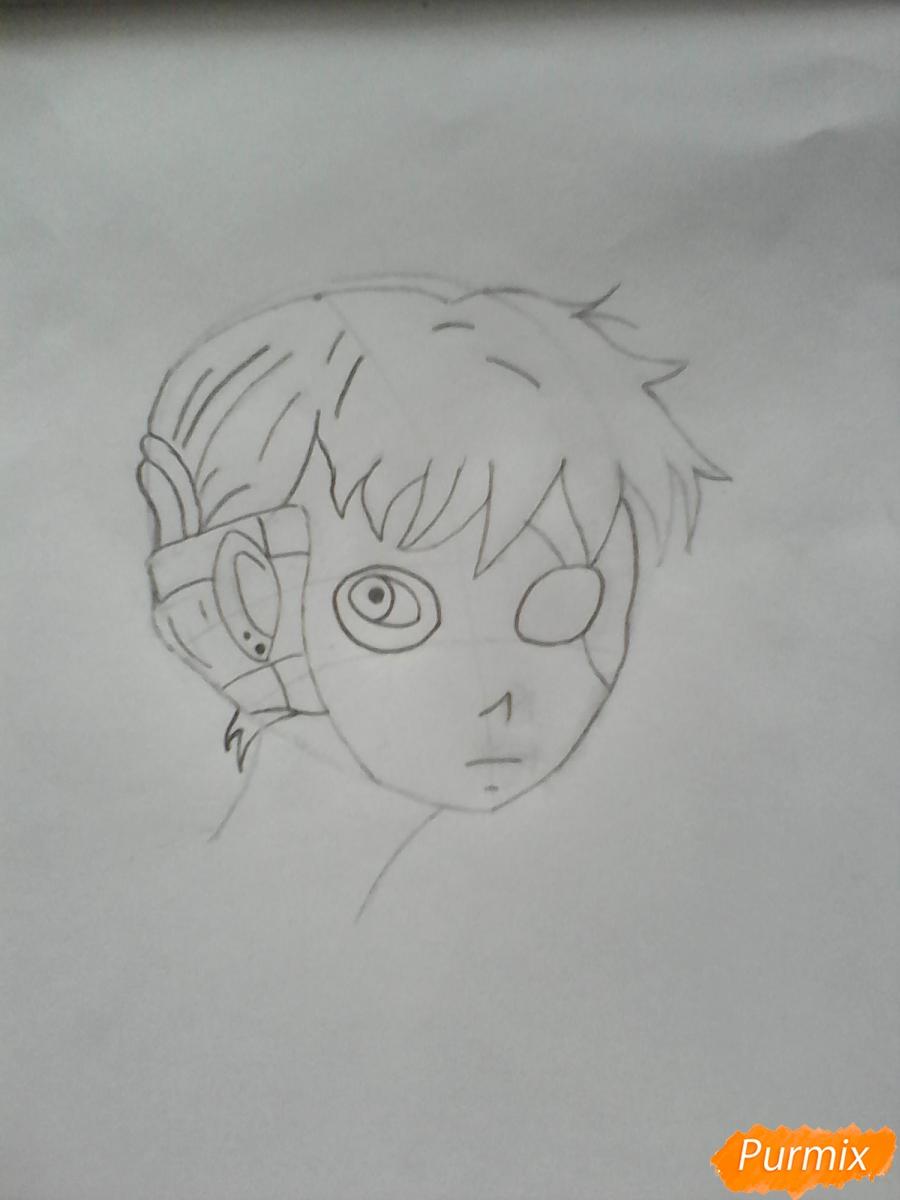 Рисуем Салли из игры Sally Face карандашами - шаг 4