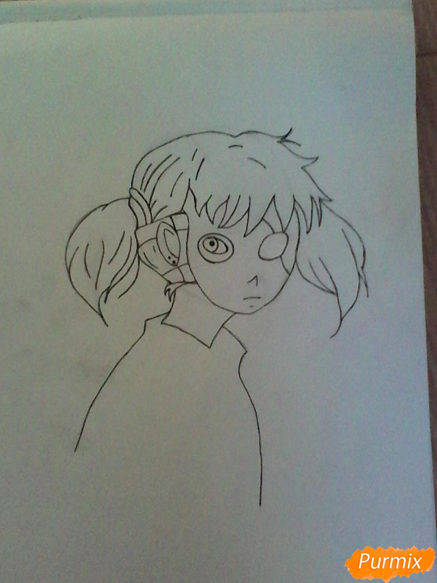Рисуем Салли из игры Sally Face карандашами - шаг 7
