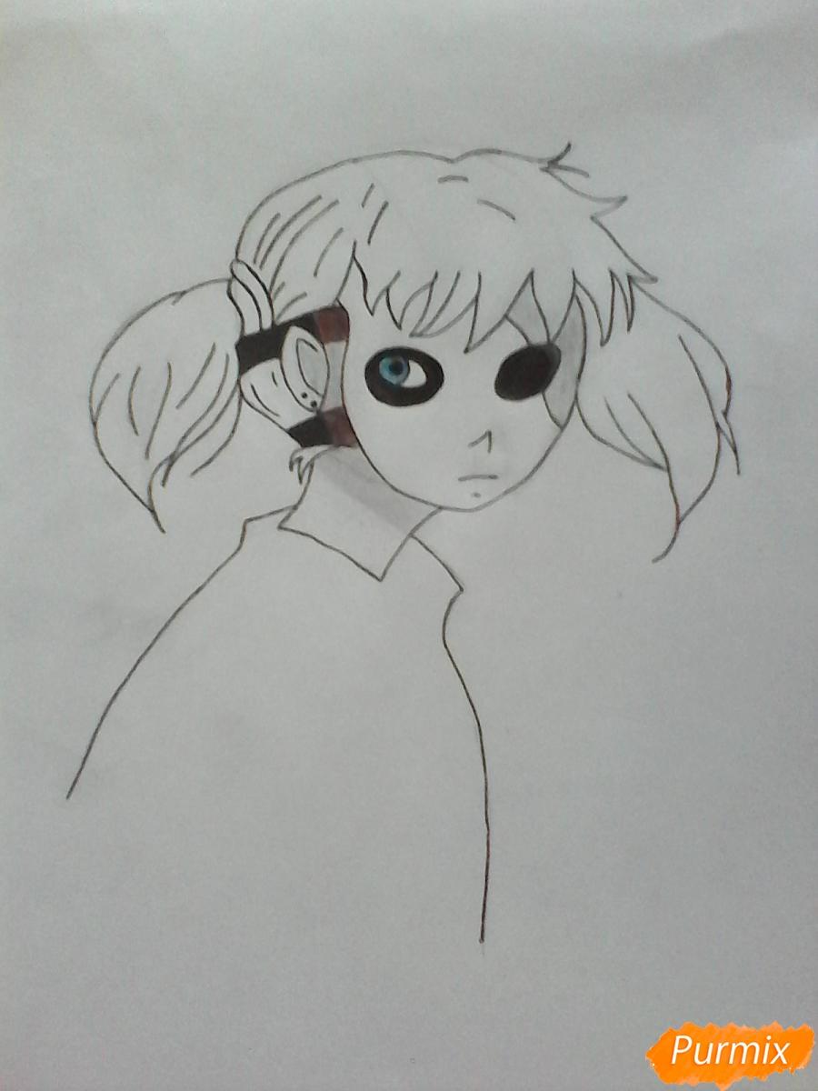 Рисуем Салли из игры Sally Face карандашами - шаг 8