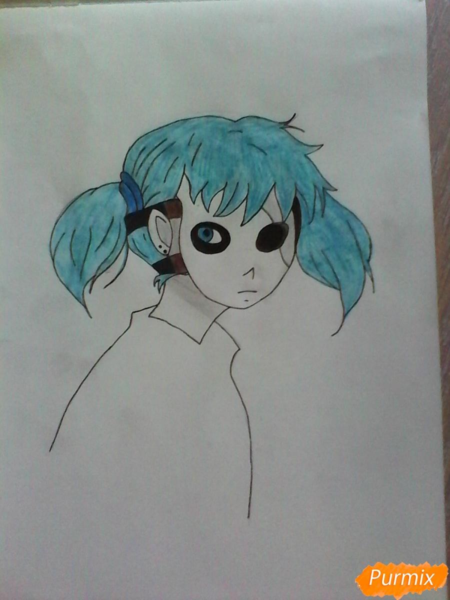 Рисуем Салли из игры Sally Face карандашами - шаг 9