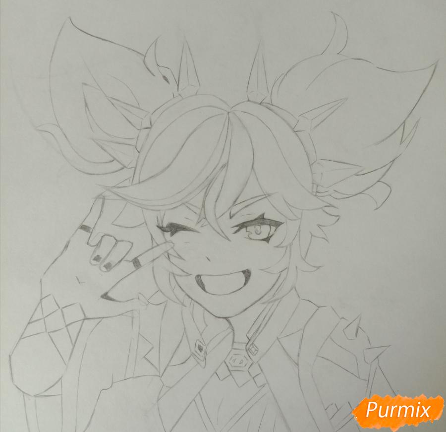 Рисуем Синь Янь из игры Genshin Impact карандашами - шаг 5