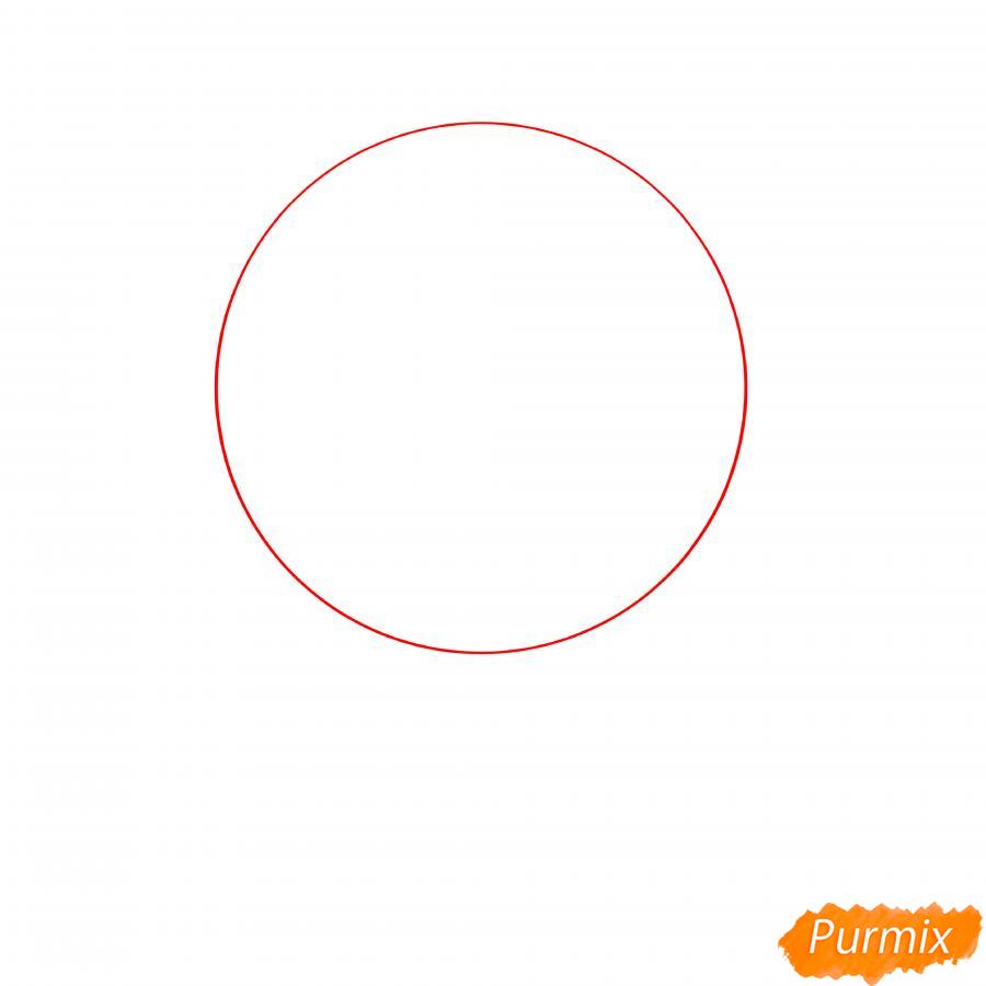 Рисуем Скуика с мячом - шаг 1