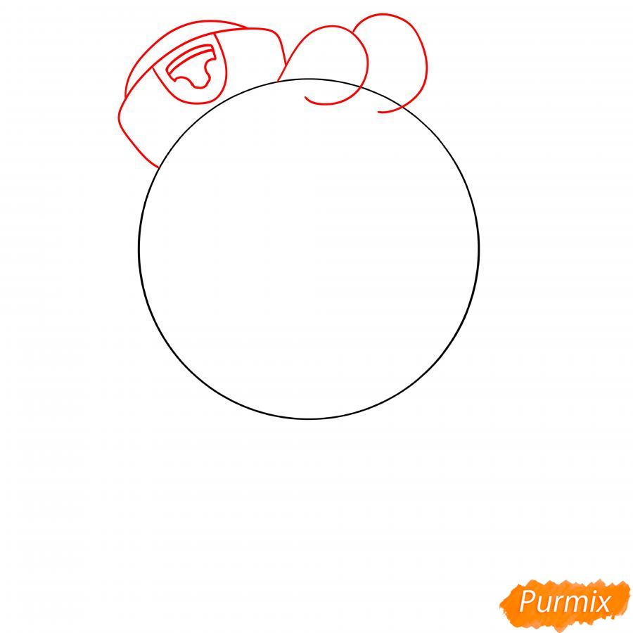 Рисуем Скуика с мячом - шаг 2