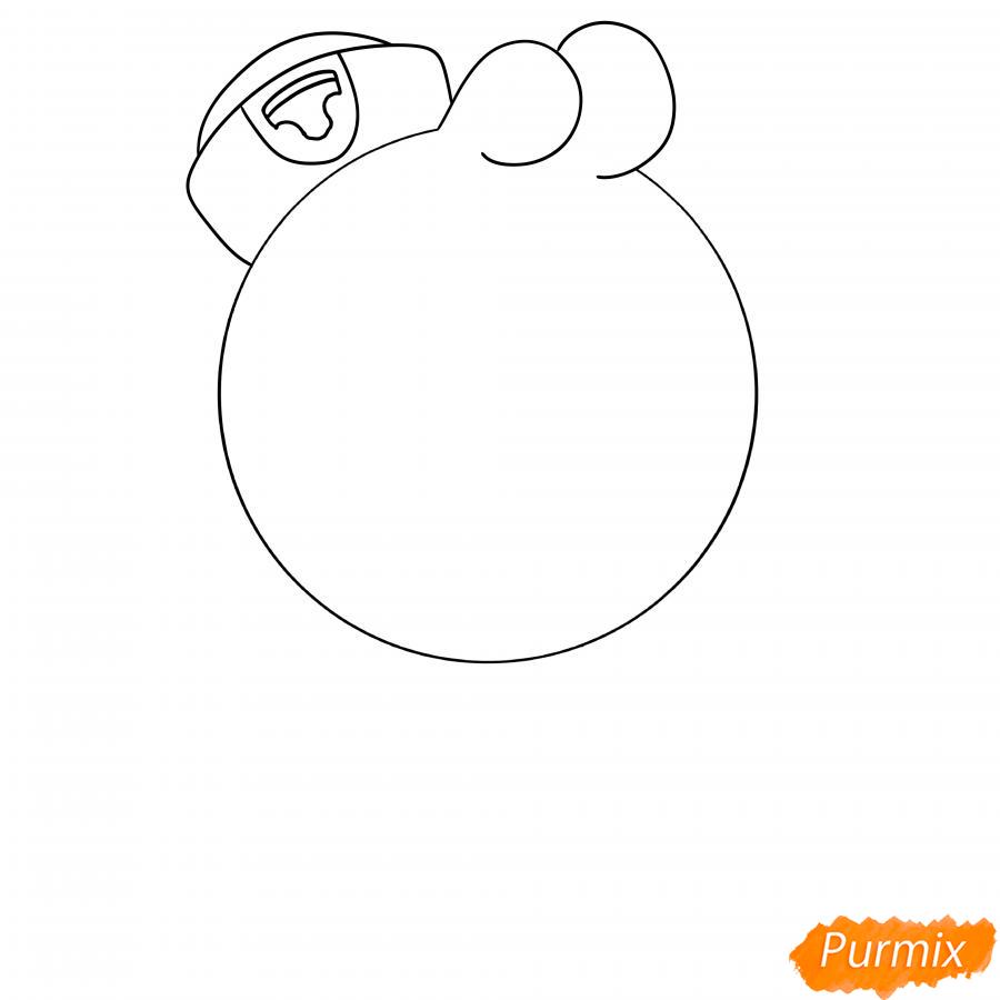 Рисуем Скуика с мячом - шаг 3