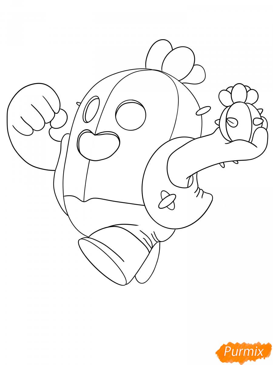 Рисуем Спайка из Бравл Старс - шаг 6