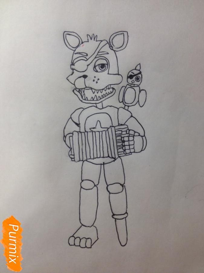 Как  нарисовать Рок-Стар Фокси из Пять ночей с Фредди - шаг 10