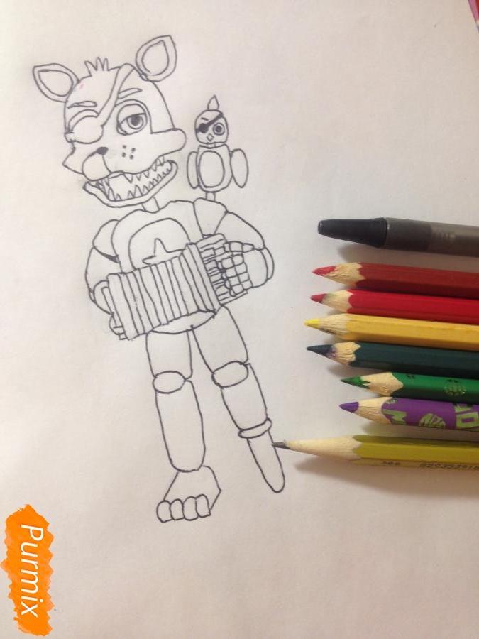 Как  нарисовать Рок-Стар Фокси из Пять ночей с Фредди - шаг 11