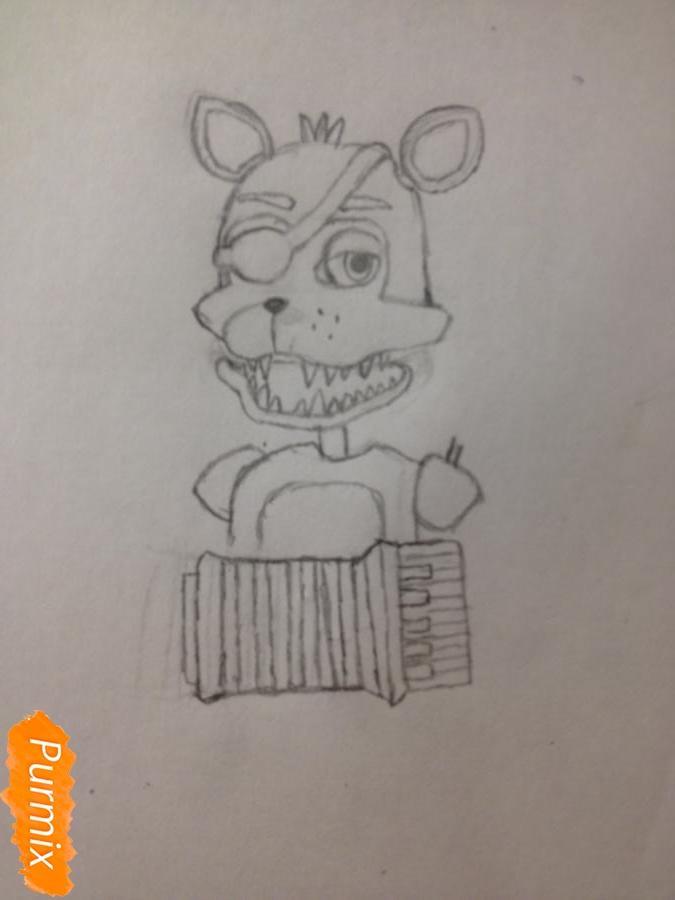 Как  нарисовать Рок-Стар Фокси из Пять ночей с Фредди - шаг 6