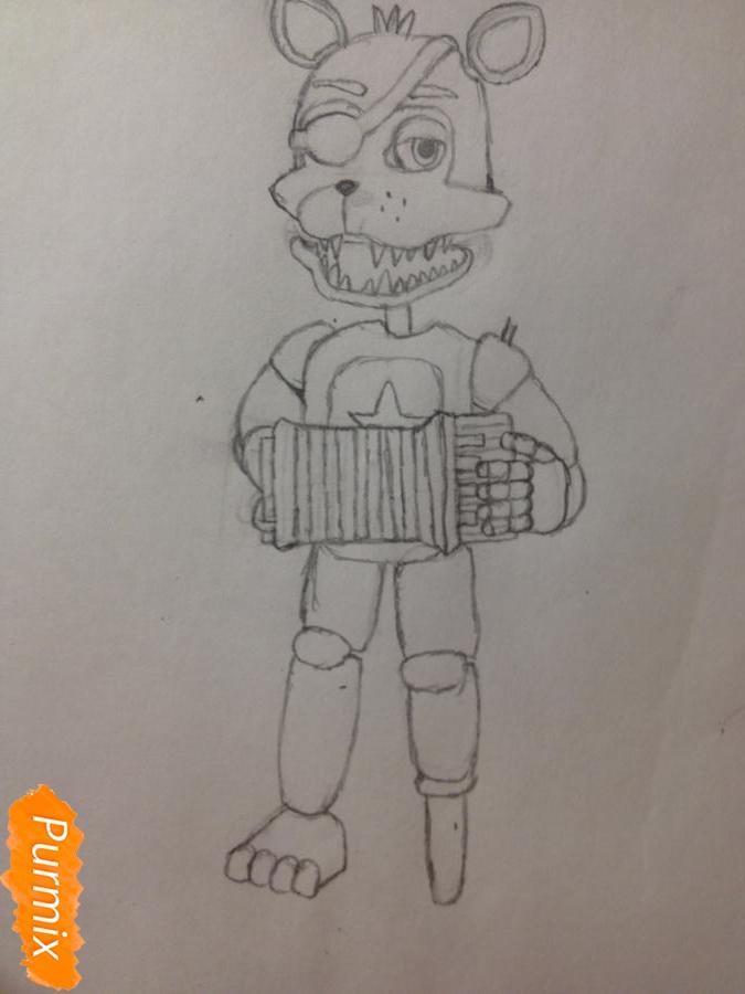 Как  нарисовать Рок-Стар Фокси из Пять ночей с Фредди - шаг 9
