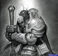 Фото Male Draenei из  World of Warcraft карандашом