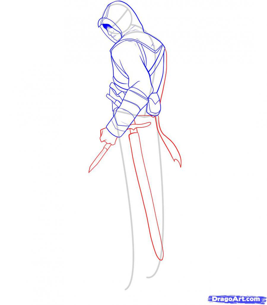 Рисуем Альтаира из игры Assassins Creed - шаг 8