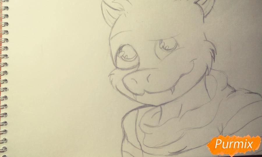 Рисуем Азриэля из игры Undertale карандашами и ручкой - шаг 3