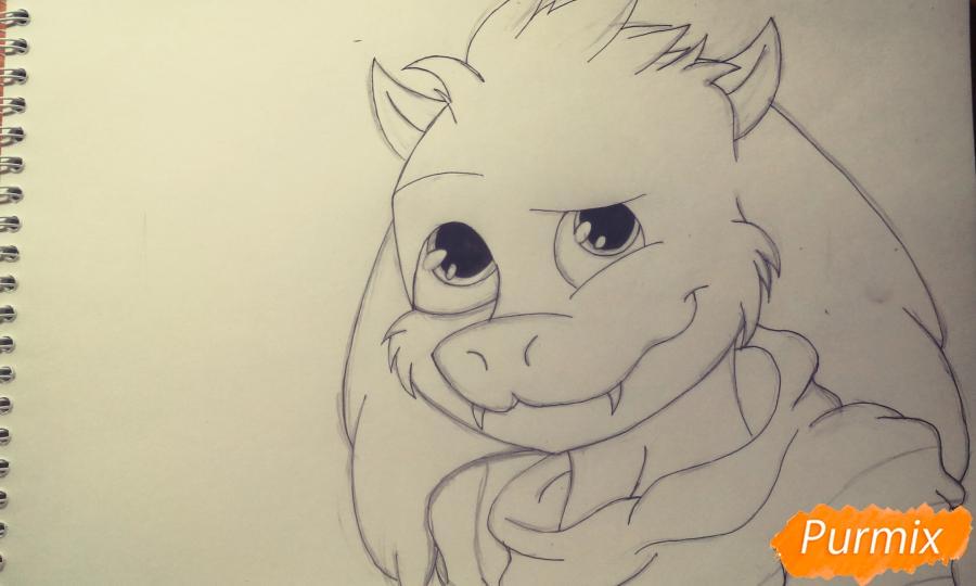 Рисуем Азриэля из игры Undertale карандашами и ручкой - шаг 5