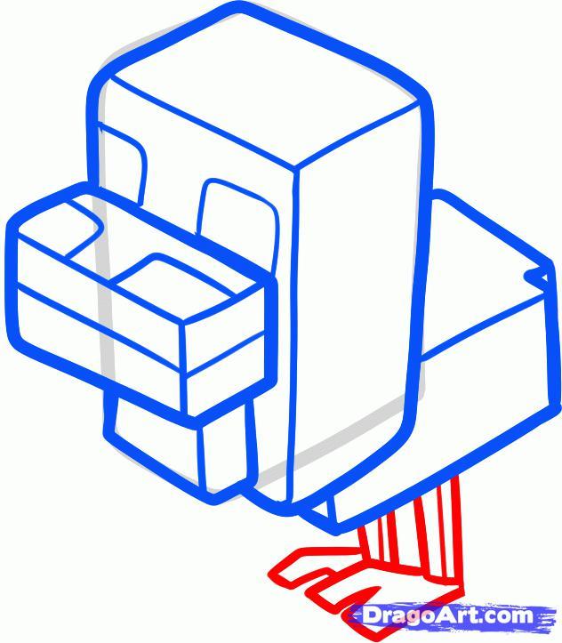 Рисуем цыпленка из игры Minecraft - шаг 6