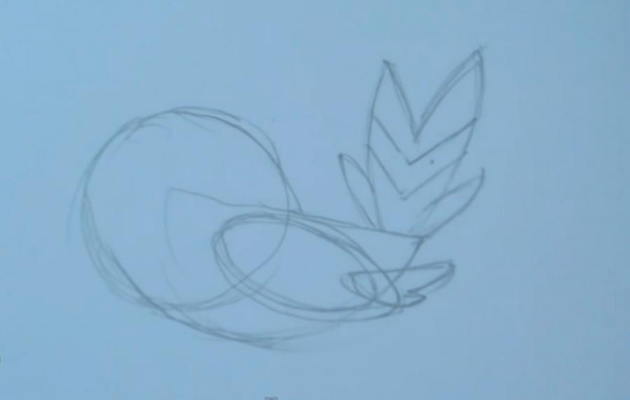Рисуем покемона Флетчлинга - шаг 2