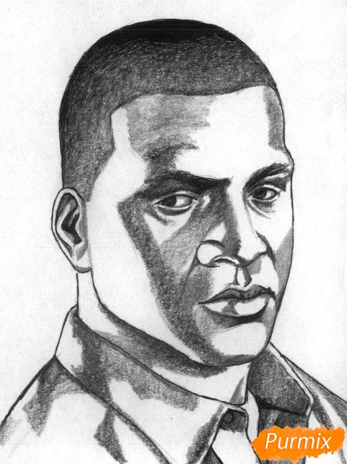 Рисуем Франклина Клинтона из игры Grand Theft Auto V карандашами - шаг 3