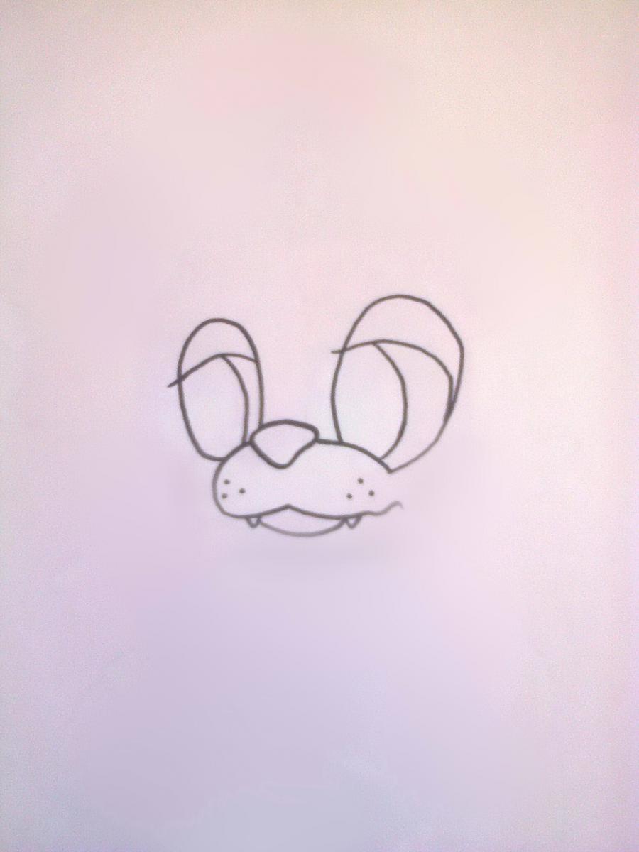 Рисуем Фредди из 5 ночей с Фредди маркером или чёрным фломастер - шаг 2