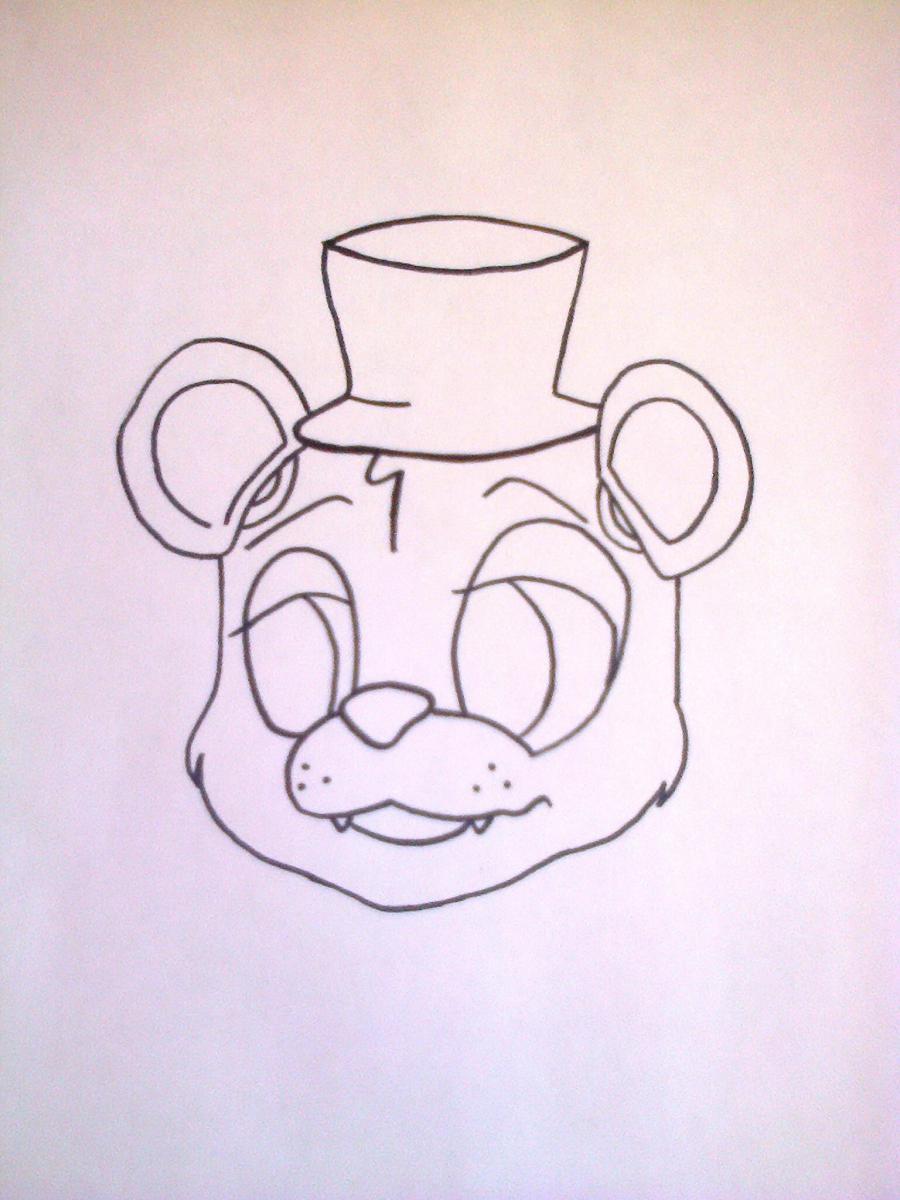 Рисуем Фредди из 5 ночей с Фредди маркером или чёрным фломастер - шаг 4