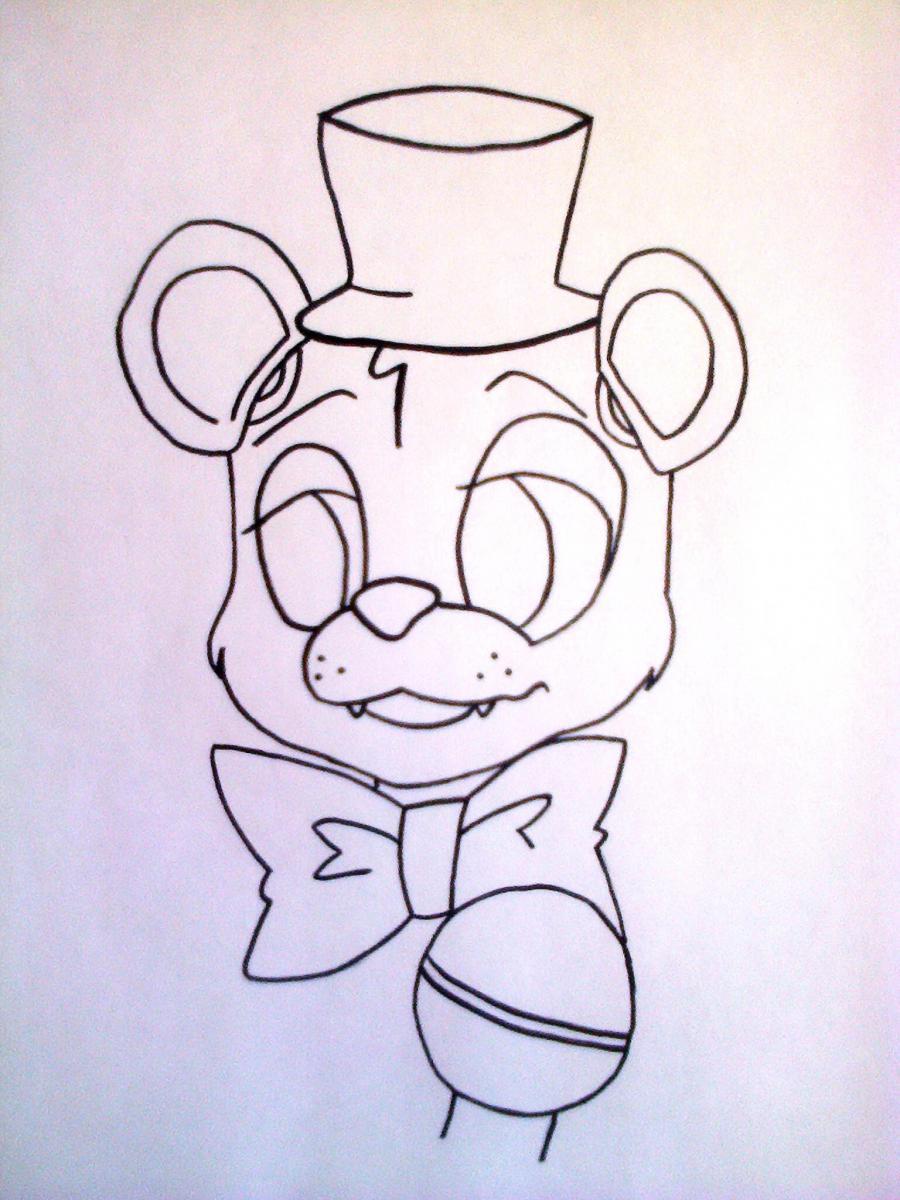 Рисуем Фредди из 5 ночей с Фредди маркером или чёрным фломастер - шаг 5