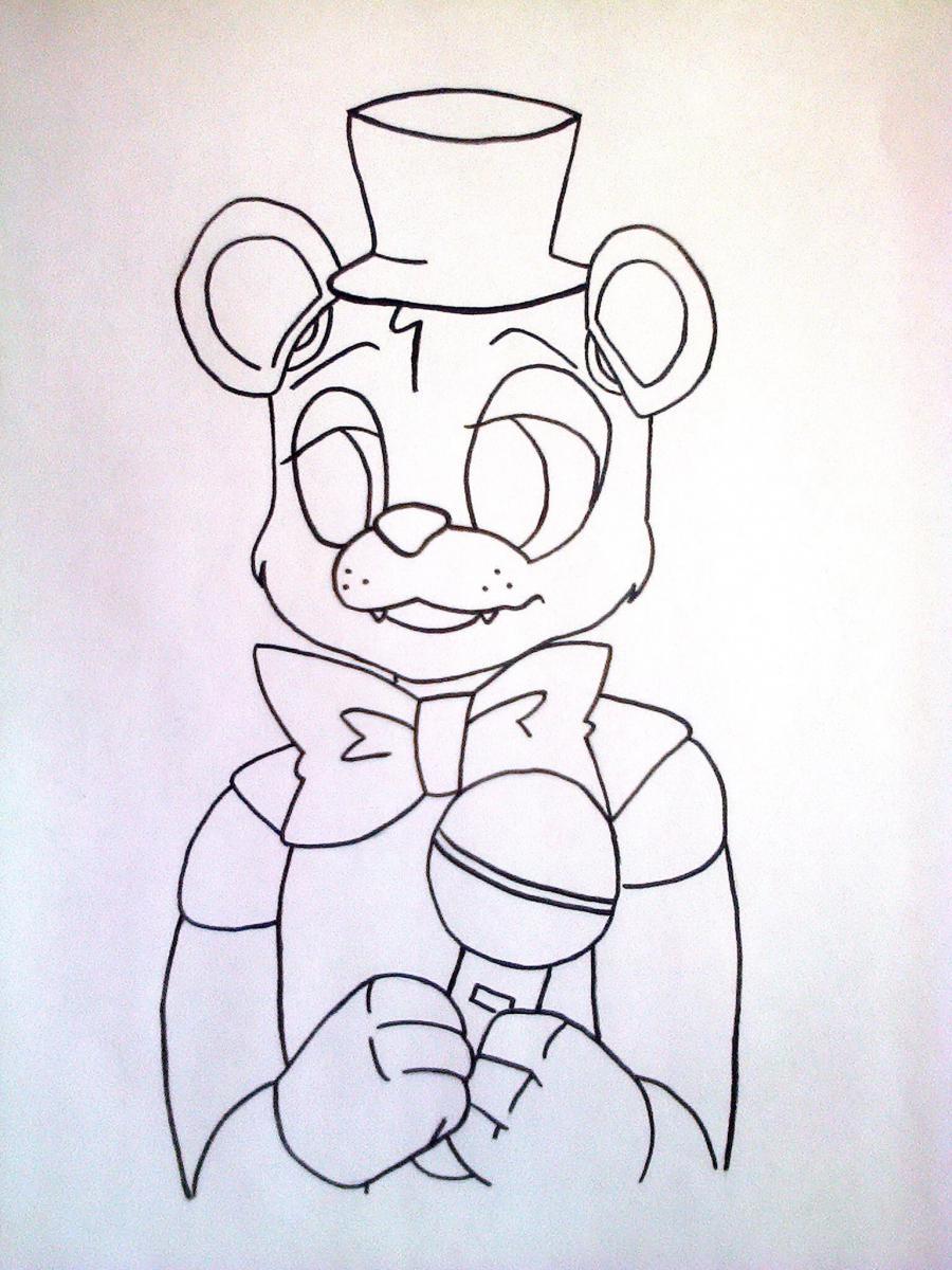 Рисуем Фредди из 5 ночей с Фредди маркером или чёрным фломастер - шаг 6