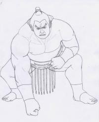 Фото Ганрю из Tekken карандашом