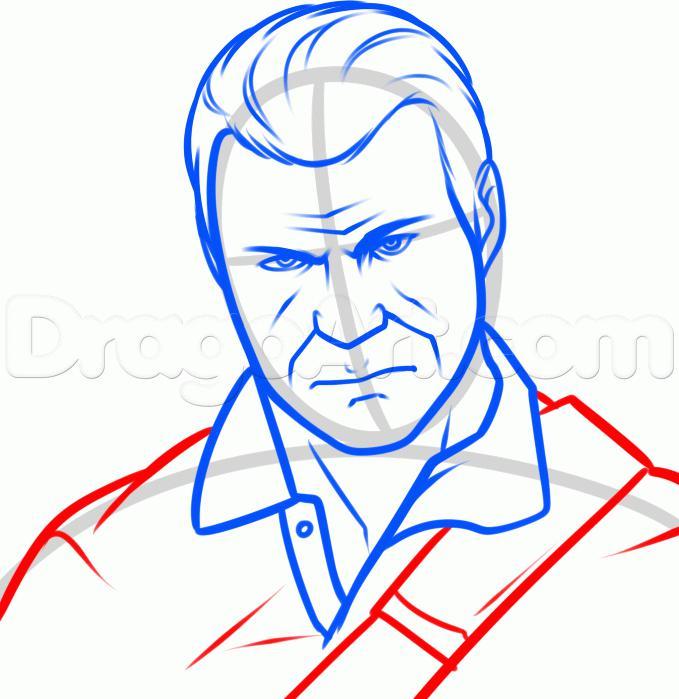 Рисуем Майкла Де Санта из GTA 5  для начинающих - шаг 7