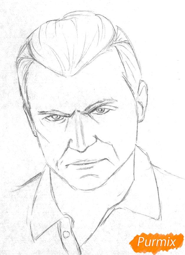Рисуем Майкла Де Санта из игры Grand Theft Auto V карандашами - шаг 1