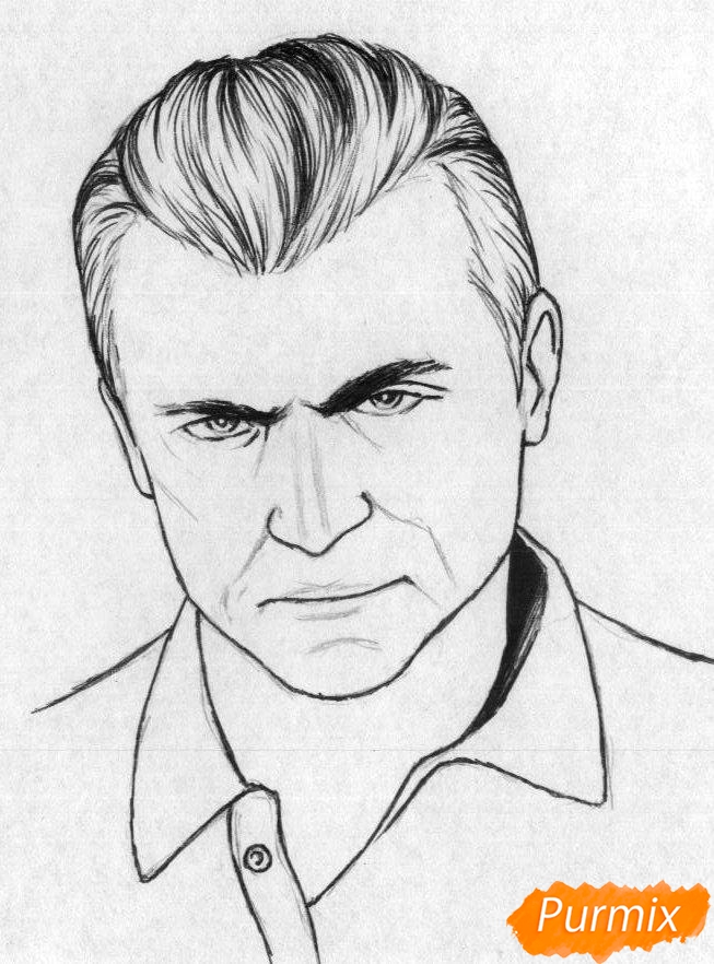Рисуем Майкла Де Санта из игры Grand Theft Auto V карандашами - шаг 2