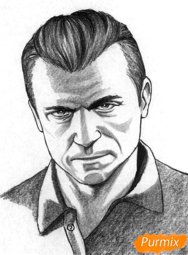 Рисуем Майкла Де Санта из игры Grand Theft Auto V карандашами - шаг 3