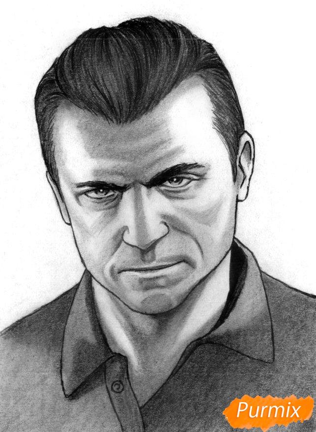 Рисуем Майкла Де Санта из игры Grand Theft Auto V карандашами - шаг 5