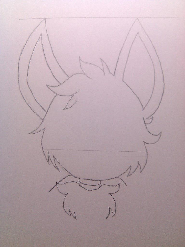 Рисуем милого Фокси карандашами - шаг 3