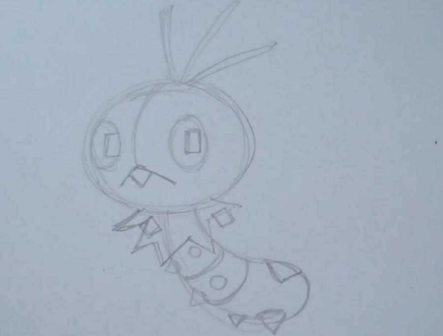 Рисуем покемона Скаттербаг - шаг 3