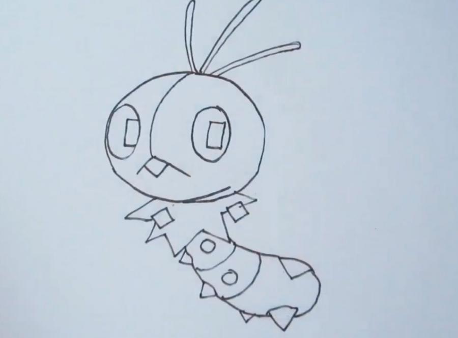 Рисуем покемона Скаттербаг - шаг 4