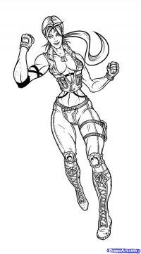 Соню Блейд из Mortal Kombat  карандашом