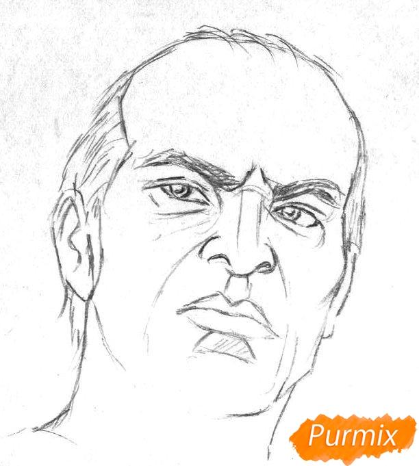 Рисуем Тревора Филипса из игры Grand Theft Auto V карандашами - шаг 1