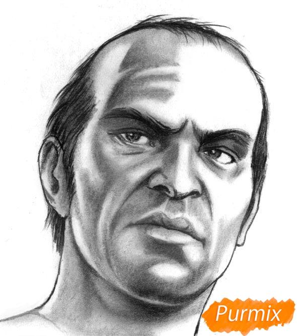 Рисуем Тревора Филипса из игры Grand Theft Auto V карандашами - шаг 5