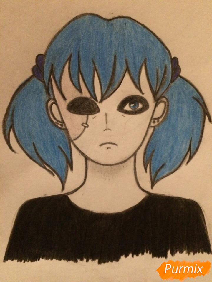 Рисуем портрет Салли-кромсали - шаг 6
