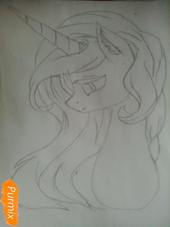 Рисуем  портрет Принцессы Селестии - шаг 3