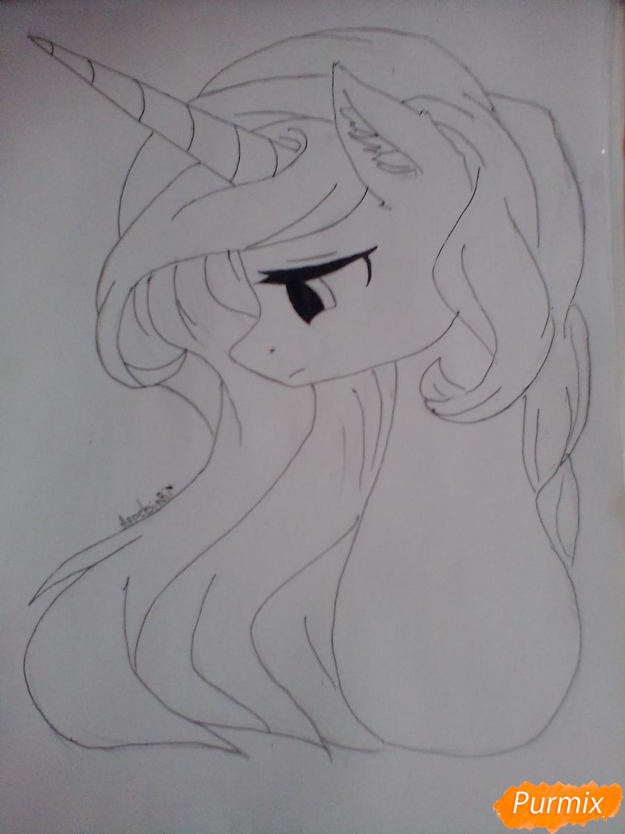 Рисуем  портрет Принцессы Селестии - шаг 4