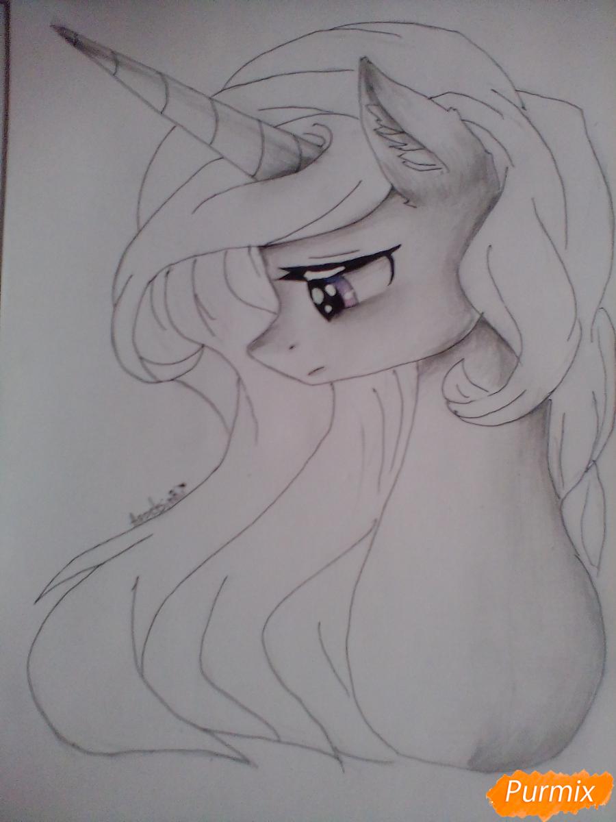 Рисуем  портрет Принцессы Селестии - шаг 6