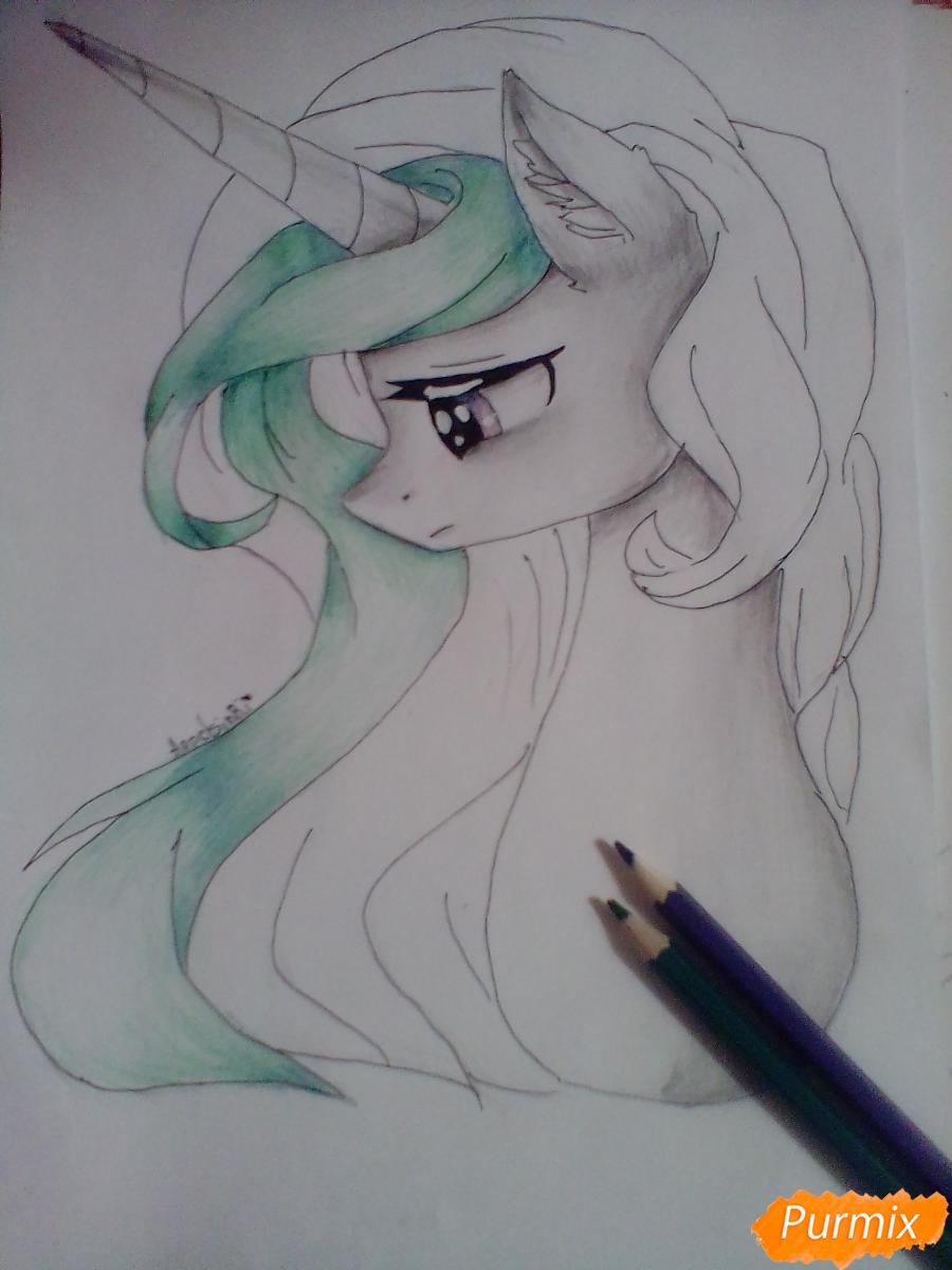 Рисуем  портрет Принцессы Селестии - шаг 7