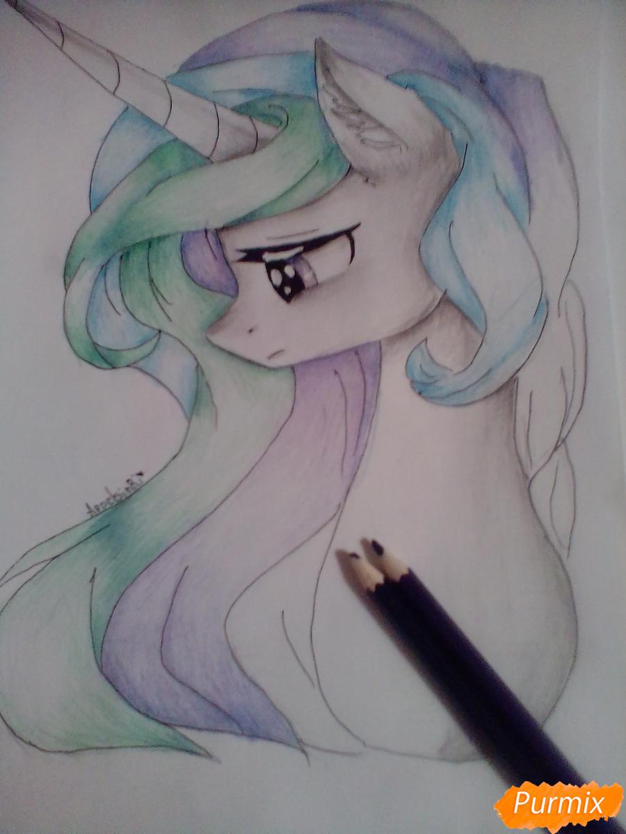 Рисуем  портрет Принцессы Селестии - шаг 9