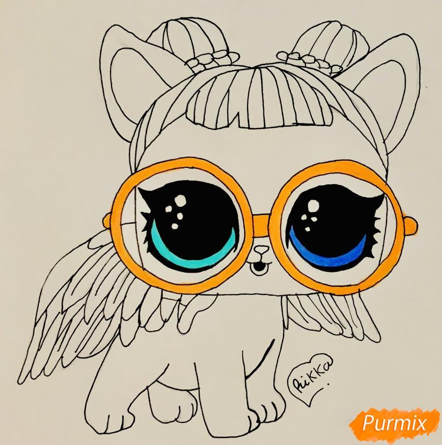 Рисуем белую кошечку с крыльями и в очках из мультфильма Lol Pets - шаг 7